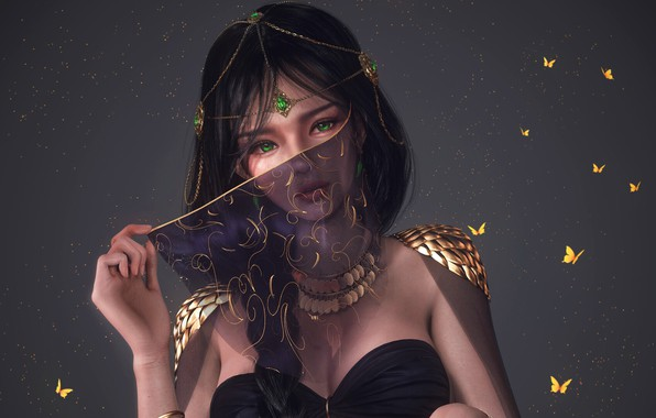 Picture girl, fantasy, green eyes, butterfly, digital art, artwork, concept art, princess, fantasy art, necklace, jewelry, …