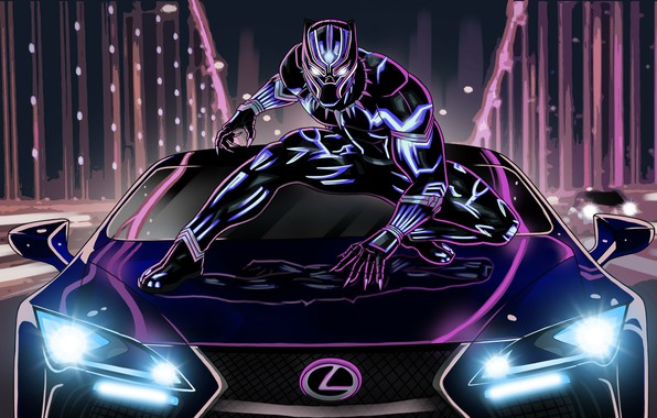 Picture lexus, neon, artwork, black panther