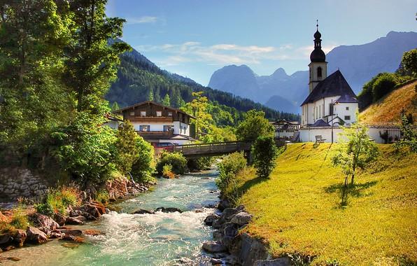 Picture landscape, mountains, bridge, river, home, Germany, Bayern, Alps, forest, Berchtesgaden, community