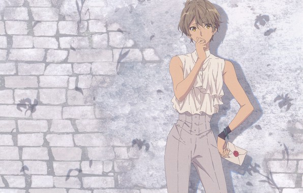 Picture letter, pants, brick wall, violet evergarden, by Akiko Takase, Iris Cannary