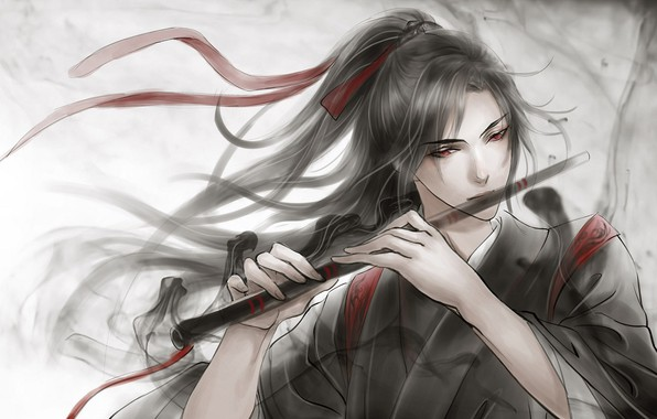 Picture grey background, flute, red eyes, long hair, red ribbon, black magic, Chinese clothing, Mo Dao …