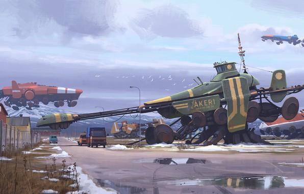 Picture fantasy, science fiction, winter, snow, sci-fi, cyberpunk, trucks, artist, digital art, spaceships, artwork, fantasy art, …