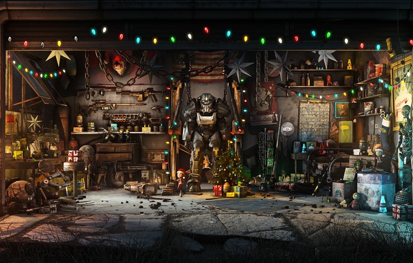 Picture The game, Christmas, New year, Weapons, Decoration, Garage, Holiday, Fallout, Art, Christmas, Art, Tree, Toys, …
