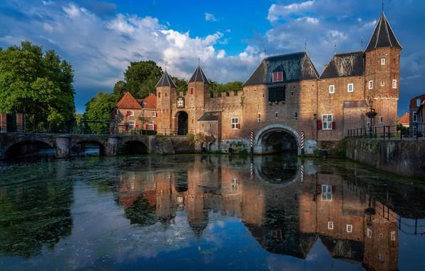 Picture water, reflection, fortress, Netherlands, Amersfoort, Koppelpoort, Koppelpoort