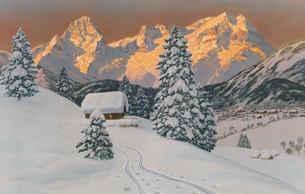 Picture Alois Arnegger, Austrian painter, Austrian landscape painter, oil on canvas, Alois Arnegger, The Grosser Pril …