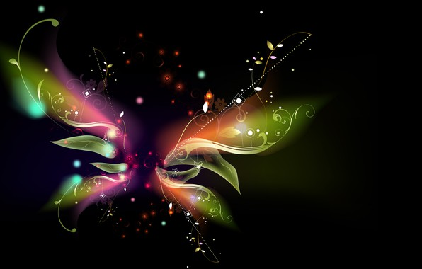 Picture vector, abstract, leaves, rendering, digital art, artwork, black background, Butterfly, simple background, shapes