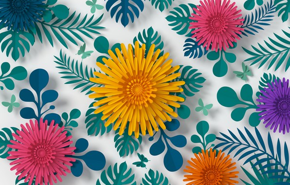 Picture flowers, rendering, pattern, colorful, flowers, composition, rendering, paper, composition, floral