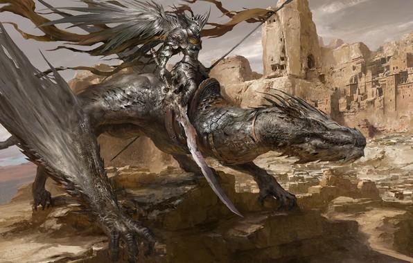Picture dragon, knight, Russell Dongjun Lu, Desert Dragon Knight