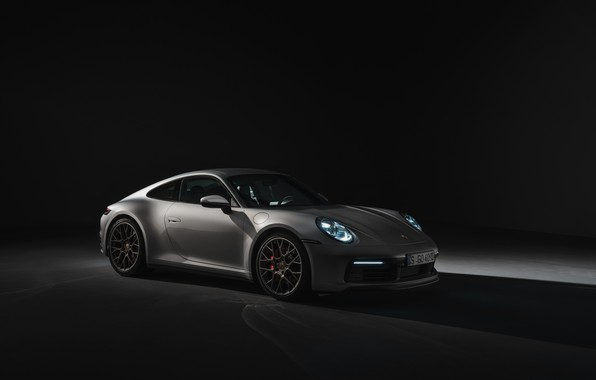 Picture coupe, 911, Porsche, the dark background, Carrera 4S, 992, 2019