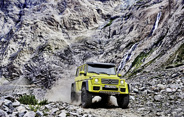 Picture Concept, yellow, rocks, Mercedes-Benz, Mercedes, BRABUS, 4x4, AMG, Benz, W463, 2015, G 500