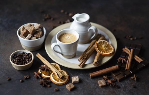 Picture coffee, sugar, cinnamon