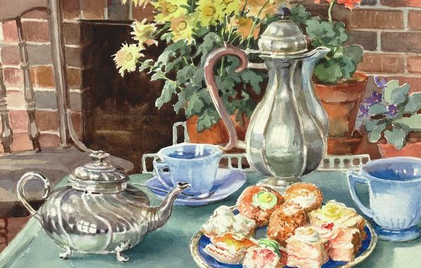 Picture flowers, table, kettle, plate, chair, mugs, cake, Watercolor, Olga Kulikovskaya-Romanova, the teapot, August artist