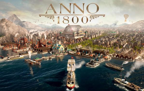Picture sea, the city, ships, simulator, Gamescom 2018, Anno 1800, The year 1800