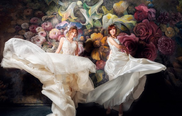 Picture flowers, smile, the dark background, background, movement, girls, wall, two, dance, white, Duo, painting, Asian …