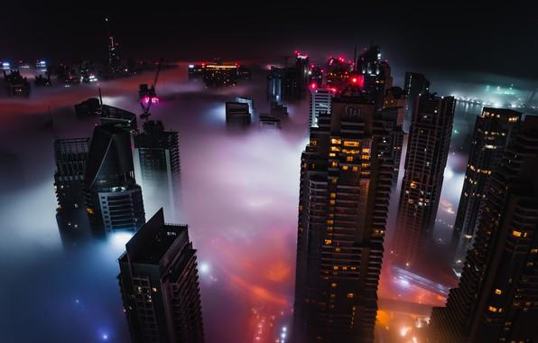 Picture city, lights, Dubai, night, buildings, skyscrapers, cityscape, UAE, mist, United Arab Emirates