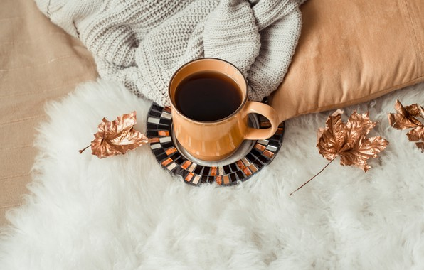 Picture autumn, leaves, wool, autumn, leaves, sweater, coffee cup, a Cup of coffee