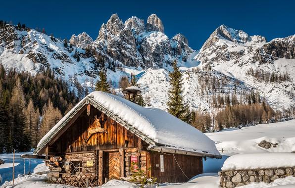 Picture winter, snow, mountains, Austria, Alps, house, Austria, Alps, Filzmoos, Filzmoos, The Dachstein Massif, The Dachstein …
