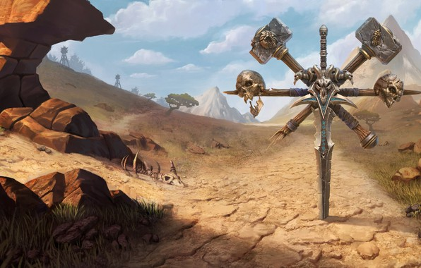Picture sword, World of Warcraft, game, desert, skulls, mountains, weapons, digital art, artwork, fantasy art, Blizzard …