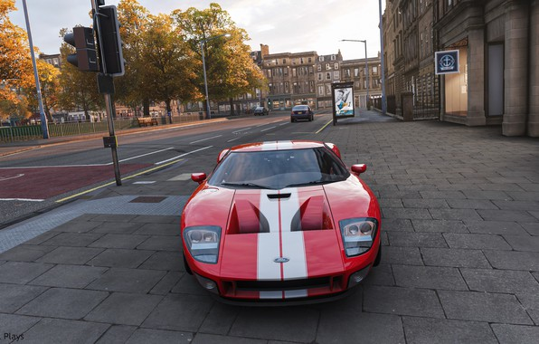 Picture red, game, ford, road, street, ford gt, forza, afternoon, forza horizon 4