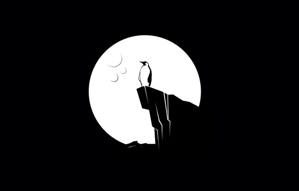 Picture moon, minimalism, digital art, artwork, black background, cliff, simple background, shilouette, Penguin