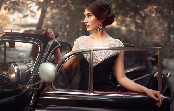 Picture machine, auto, girl, pose, style, retro, earrings, hands, dress, hairstyle, Max Kuzin, Kristina Zolotareva