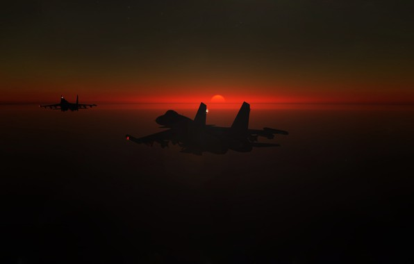 Picture Sunset, The sun, The sky, The game, The plane, fighter, Russia, BBC, Su-30, Sukhoi, Flanker-C, …