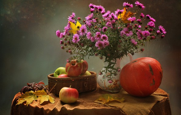Picture autumn, leaves, flowers, table, background, apples, bouquet, pumpkin, vase, still life, tablecloth, asters