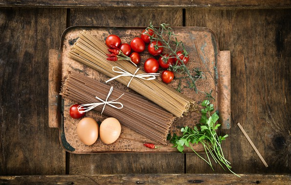Picture greens, table, eggs, Board, pepper, tomatoes, pasta