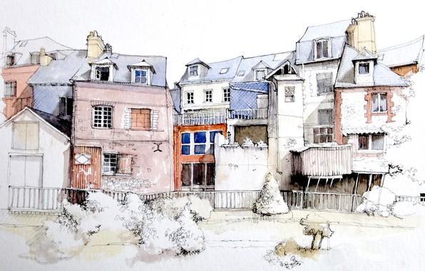 Picture figure, France, watercolor, the urban landscape, Honfleur