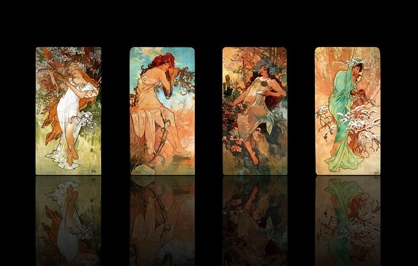 Picture winter, autumn, summer, reflection, rendering, girls, seasons, spring, black background, picture, Alphonse Mucha, Alfons Maria …