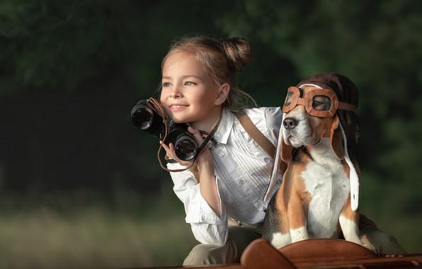 Picture dog, girl, Aviator, Anastasia Busova