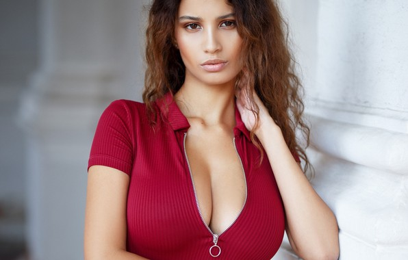 Picture chest, look, Girl, neckline, Maxim Romanov