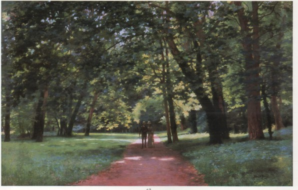 Picture trees, pair, track, walk, a man and a woman, THE PROMENADE, GIRARD