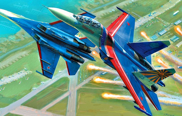Picture art, Russia, weatherproof, Su-27UB, Russian Knights, the fourth generation fighter, Soviet/Russian, Videoconferencing Russia, aviation group ...