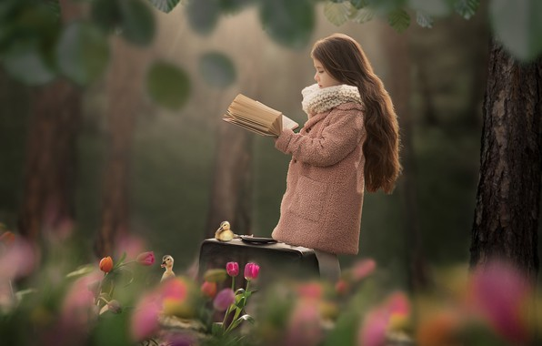 Picture trees, flowers, girl, tulips, book, suitcase, long hair, Chicks, bokeh, the goslings