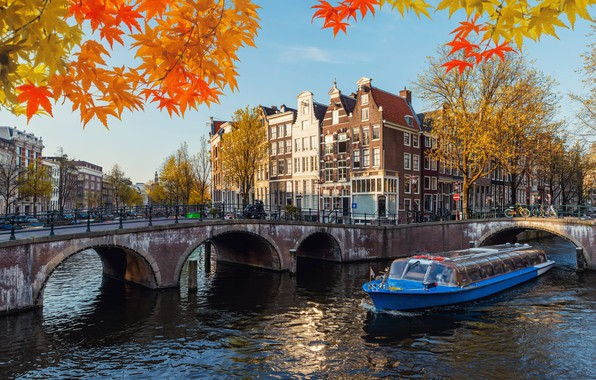 Picture autumn, leaves, branches, bridge, the city, boat, building, Amsterdam, channel, Holland