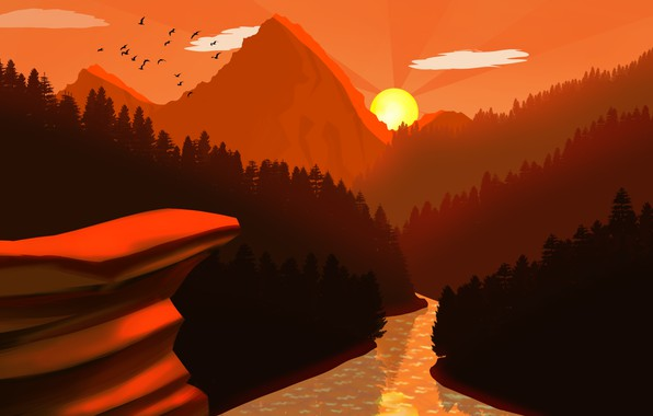 Picture forest, river, trees, landscape, nature, Sunset, art, mountains, birds, sun, digital art, artwork