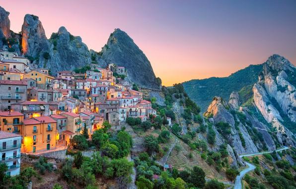 Picture road, mountains, dawn, building, home, morning, slope, Italy, Italy, Basilicata, Castelmezzano, Basilicata, Castelmezzano