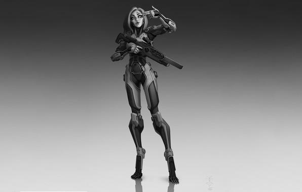 Picture Girl, Gun, Art, Robot, Cyborg, Characters, Sci-fi, Ivan Yakushev