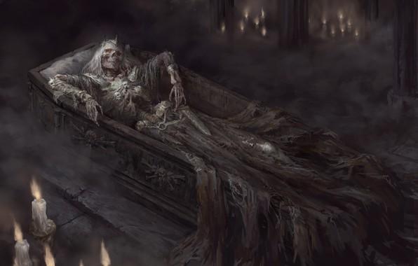 Picture dark, sword, fantasy, crown, grave, artwork, candles, warrior, fantasy art, king, Skeleton