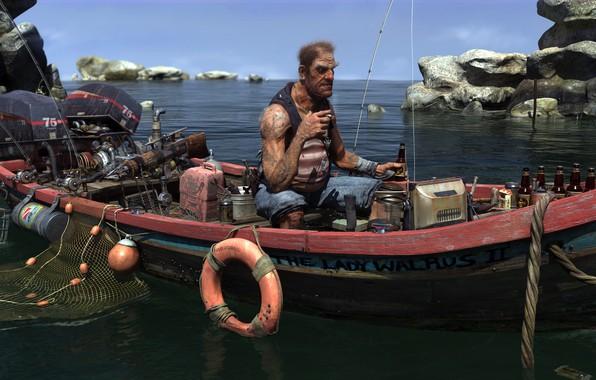 Picture Sky, Water, Sea, Rocks, Boat, Tattoos, Waiting, Fishing, Cigarette, Motor, Old Man, Anchor, Net, Fisherman, …