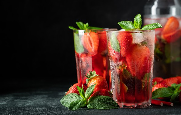 Picture ice, strawberry, drink, Glasses