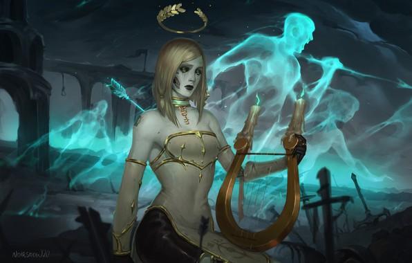 Picture death, perfume, fantasy, art, harp