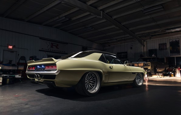 Picture Chevrolet, 1969, Camaro, Lights, Garage, Drives, Chevrolet Camaro, Classic car, Wide Body Kit, Sports car, …