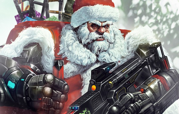 Picture Winter, Figure, Christmas, Background, New year, Santa, Weapons, Beard, Holiday, Santa Claus, Art, Christmas, Art, ...