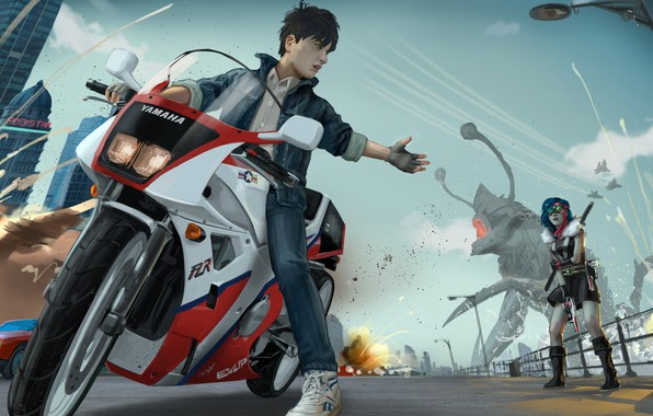 Picture girl, street, monster, motorcycle, guy