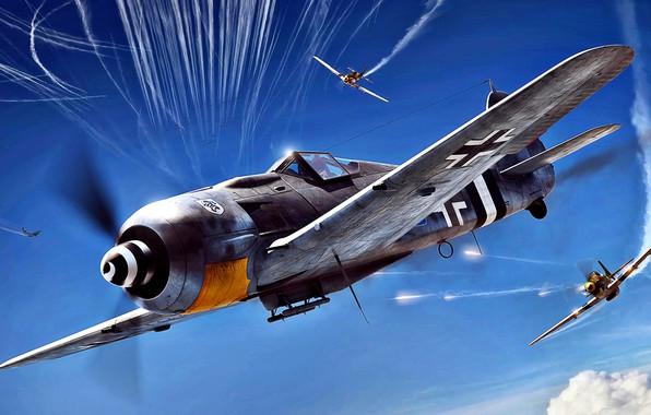 Picture attack, P-51D, vapor trail, Sturmbock, Fw.190A-8/R8, JG4