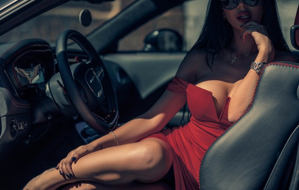 Picture machine, chest, Girl, glasses, Dodge Challenger SRT, Louis of Navarre, Anna Levchenko