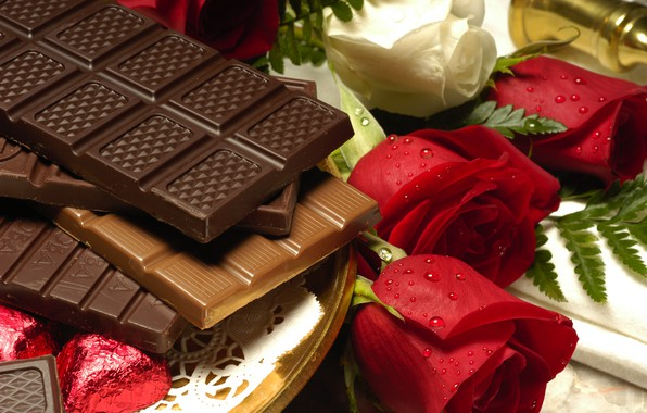 Picture photo, chocolate, roses