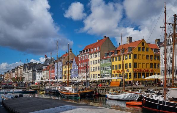 Picture boats, Denmark, channel, promenade, Denmark, Copenhagen, Nyhavn